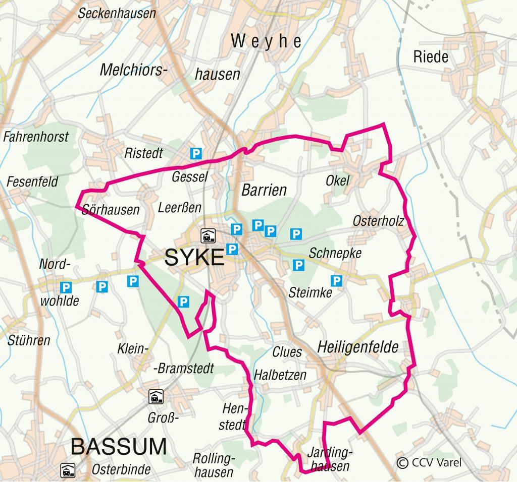 Routenverlauf des Radrundwegs Syke