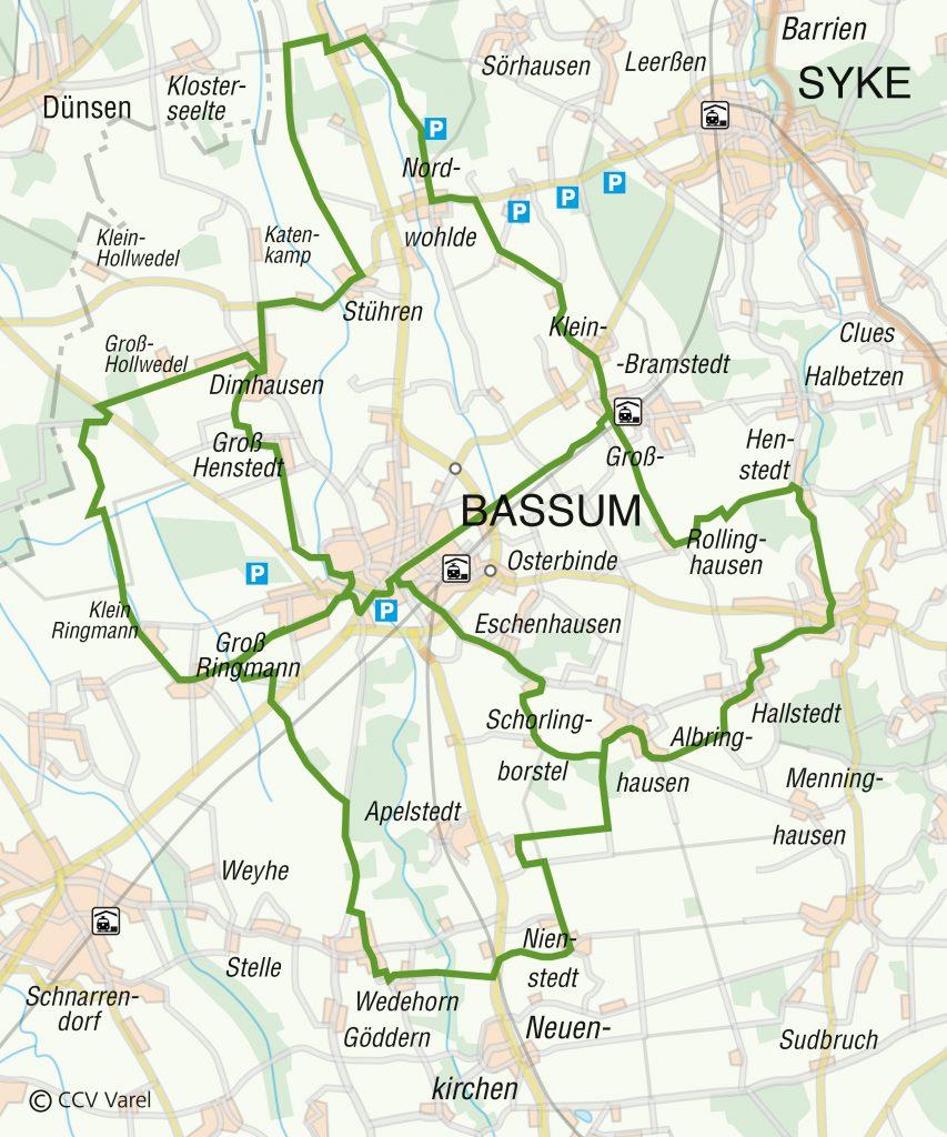 Routenverlauf des Bassumer Fahrrad-Rundwegs