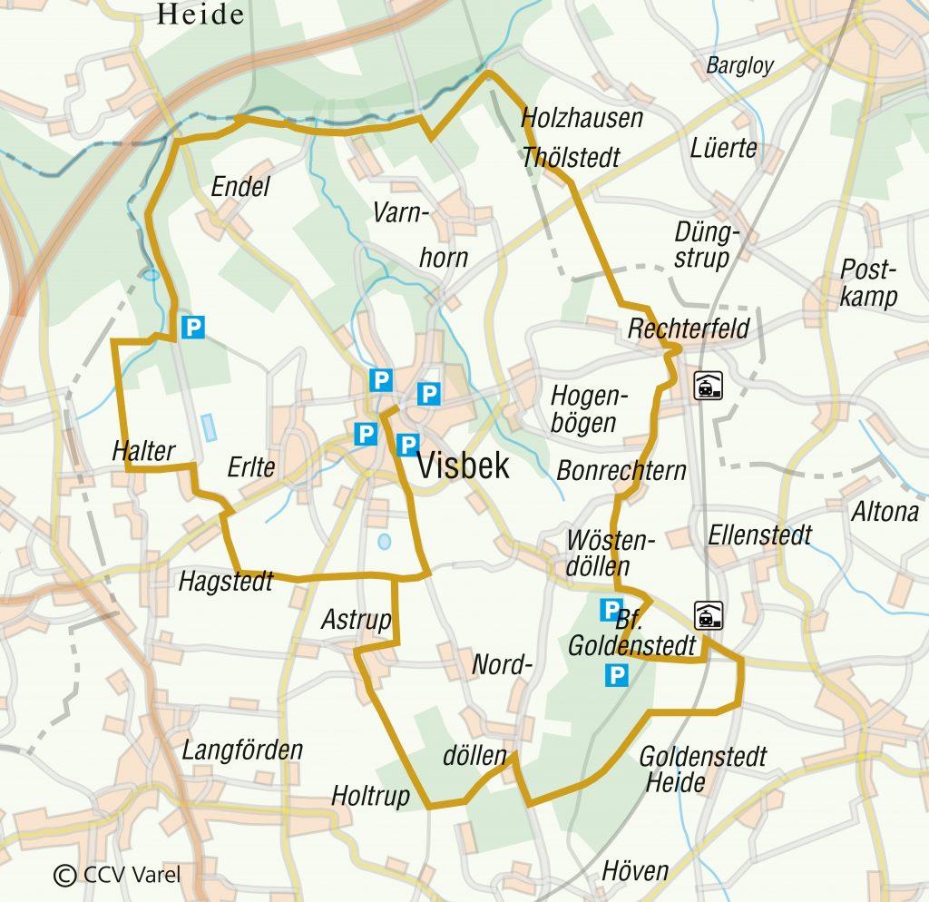 """Routenverlauf der Tour """"Rund um Visbek"""""""