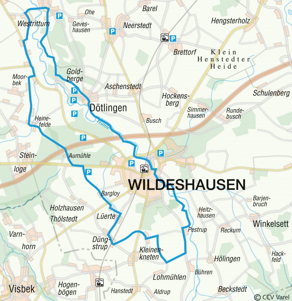 Routenverlauf der WasserMühlen-Tour