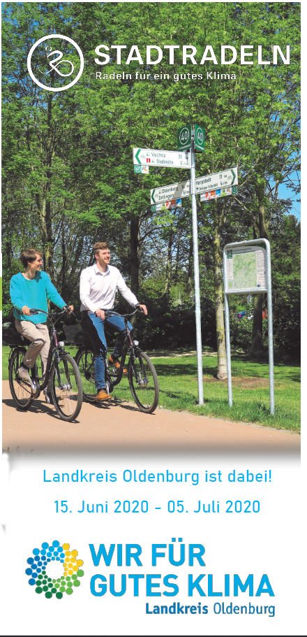 Flyer des Wettbewerbs STADTRADELN im Landkreis Oldenburg