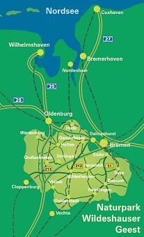 Übersichtskarte Naturpark Wildeshauser Geest