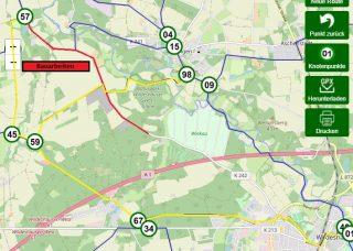 Aktuelle Streckensperrung zwischen Gut Moorbeck und Wildeshausen bis Ende September (Alternativen in gelb)