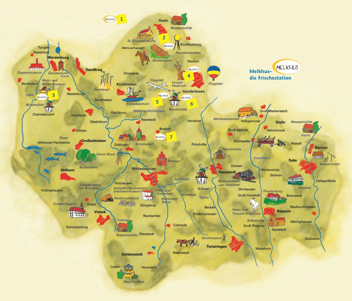 Übersichtskarte Melkhüser im Naturpark